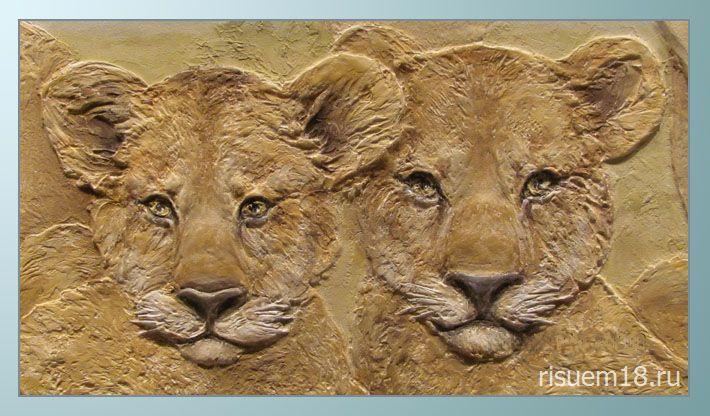 Барельеф на стене: львы Risuem18 Ижевск