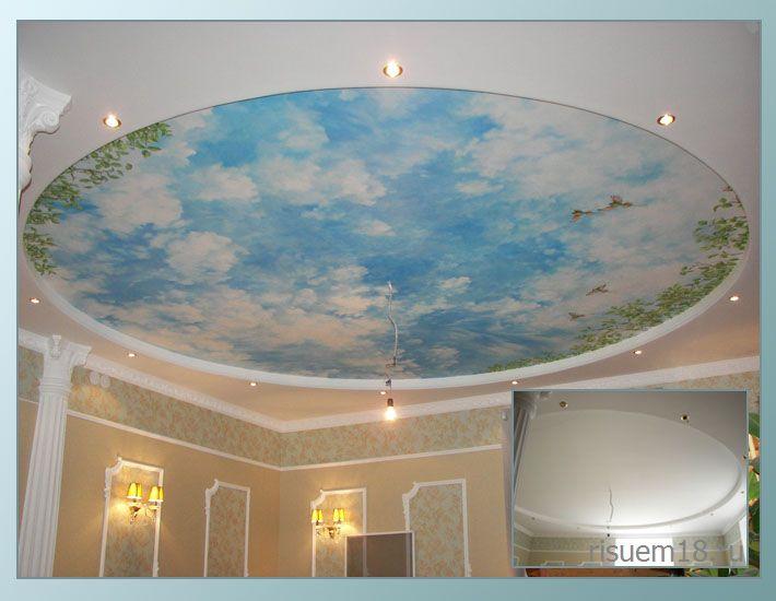 рисунок на потолке голубое небо